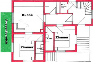 Wohnung mit Beschriftung + Grunbereich
